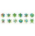 set geometric snowflakes christmas web banners vector image vector image
