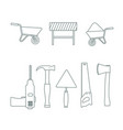 set of construction tools with line art style vector image