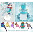 set of funny cartoon winter birds vector image vector image