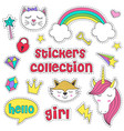 set of isolated stickers for girl vector image