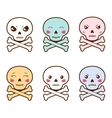 Set of kawaii skulls with different facial vector image