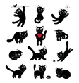Set of silhouettes happy cats vector image vector image
