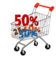 shopping cart with sale vector image vector image