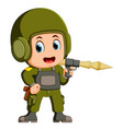 soldier with anti-tank rocket launcher vector image