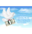 white pigeon holding banknotes flying in sky vector image vector image