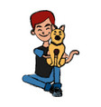 boy with cute cat vector image