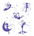 fairy silhouette set vector image