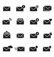 email envelope black icon set message vector image