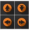 four orange round - black arrows and shadows vector image