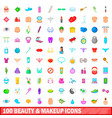100 beauty and makeup icons set cartoon style vector image vector image