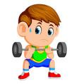 a boy lifting weights vector image vector image