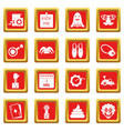 april fools day icons set red vector image