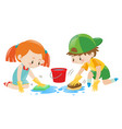 boy and girl cleaning the floor vector image vector image