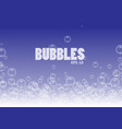 bubbles in water on blue background horizontal vector image vector image