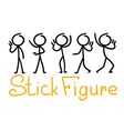 cartoon doodle stick figure with different pose vector image vector image