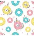 Childish seamless pattern with cute donut cat
