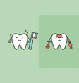compare of healthy and unhealthy tooth vector image vector image