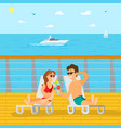 couple relaxing on wooden pier summer vacation vector image vector image