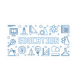education blue horizontal linear banner or vector image vector image