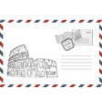 envelope with hand drawn coliseum vector image vector image