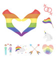 gay and lesbian cartoon icons in set collection vector image