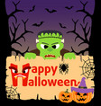 halloween background card with frankenstein vector image vector image