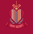 happy holidays greeting card in heart form vector image vector image
