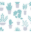 house plant seamless pattern flowerpot background vector image