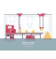 industrial packaging machine with conveyor vector image vector image