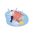 isometric real estate agent with house model and vector image