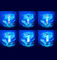 isometric set doctors working on virtual screens vector image