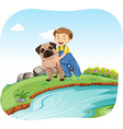 Little boy and dog by the river vector image vector image