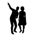man points girl direction by finger silhouette vector image
