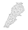 map of lebanon from polygonal black lines and dots vector image vector image