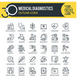 medical diagnostics outline icons vector image vector image
