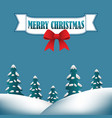merry christmas background with hills and evergree vector image vector image