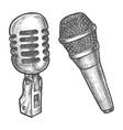 microphone sketch voice and sound karaoke vector image vector image