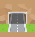 mountain tunnel and road in flat style vector image