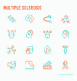 multiple sclerosis thin line icons set vector image