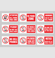 no phone sign cell phone prohibited icons set vector image vector image
