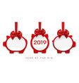 paper pigs decorations for 2019 new year vector image vector image