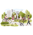 people in city park weekend leisure in nature vector image
