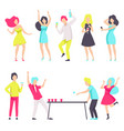 people in fashionable clothes resting and drinking vector image vector image