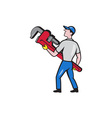 Plumber Carry Monkey Wrench Walking Cartoon vector image vector image