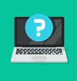 question mark on computer screen icon flat vector image vector image