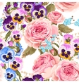 Roses and pansies seamless background vector image vector image