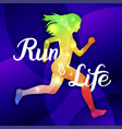 run is life sport motivation lettering poster vector image vector image