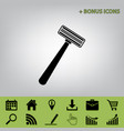safety razor sign black icon at gray vector image vector image