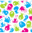 seamless pattern funny monsters vector image vector image