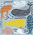 seamless pattern with sea animal fur-sealwhale vector image